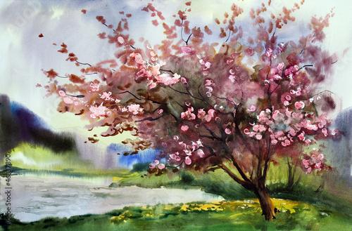 Watercolor painting landscape - 46837890