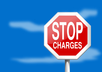 Stop sign charges on a blue background