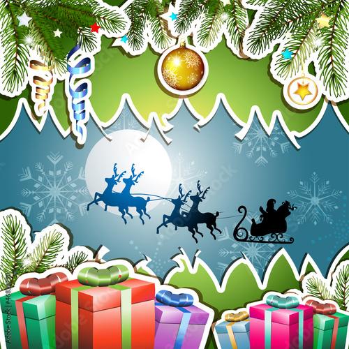 Christmas with gifts and Santa sleigh