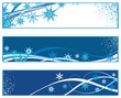 Set of elegant Christmas banners with snowflakes