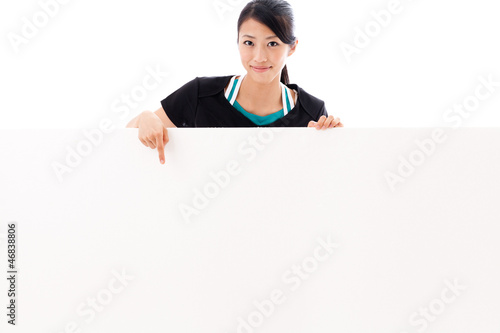 beautiful asian woman with blank whiteboard