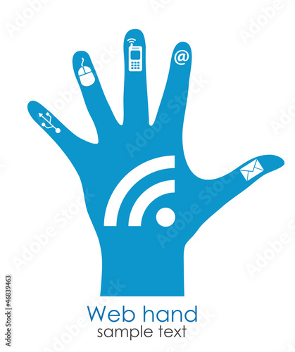 Web hand icon, networking concept