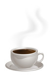 Steaming Coffee Cup on Saucer