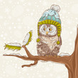 Christmas card of an owl in a hat