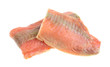 Fresh wild caught salmon fillets on white background