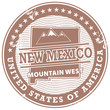 Grunge rubber stamp with text New Mexico, Mountain West