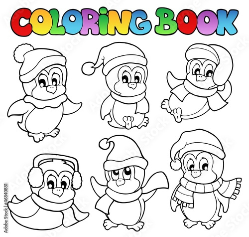 Coloring book cute penguins 3