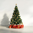 Decorated Christmas tree with red gifts, holiday interior