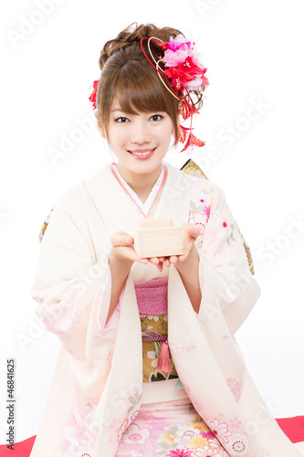 Beautiful japanese kimono woman on white background