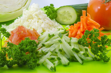 Chopped vegetables for salad