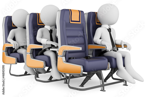 3D white people. Business people on a air travel