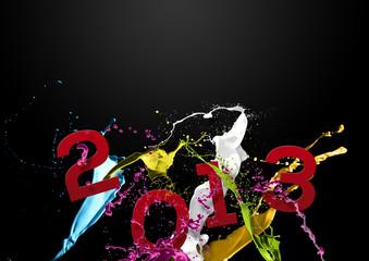 Voeux 2013 taches et éclaboussures de peinture