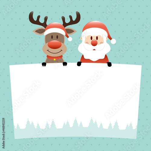 Rudolph & Santa Label Dots Retro