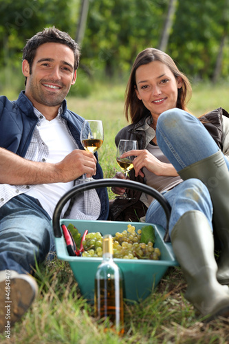 Grapepickers enjoying a glass of wine