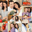 Couple cooking collage
