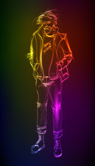 Hand-drawn fashion model from a neon. A light man