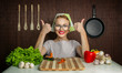 Woman cook with okay sign cut carrot-vintage concept