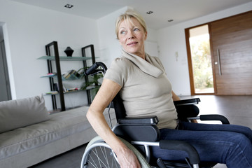 Portrait of senior woman in wheelchair