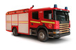 European Firetruck on a white background