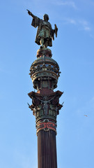 Columbus Pointing Pillar Monument Barcelona Spain