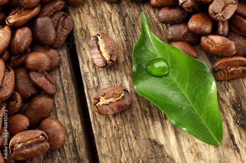 leaf and coffee