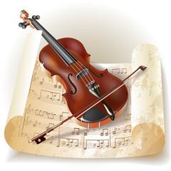 Classical violin in retro style