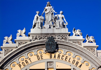 Port Authority Building Statues Barcelona Spain