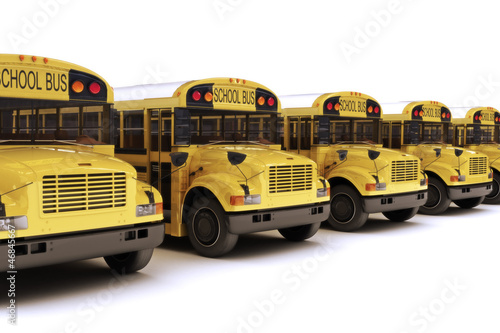 School buses in a row isolated on a white background