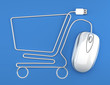 Online shopping, White mouse in the shape of a shopping cart