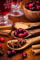 Preparing cranberry hot mulled wine