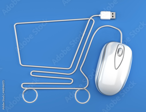 Online shopping, White mouse in the shape of a shopping cart - 46846075
