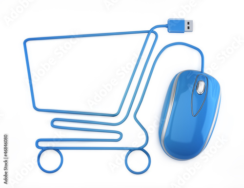 Leinwanddruck Bild Online shopping, blue mouse in the shape of a shopping cart