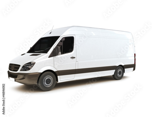 Industrial van on a white background, room for text