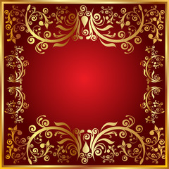 abstract golden frame with floral
