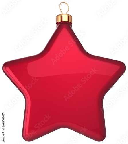 Red Christmas ball star shaped decoration Happy New Year bauble