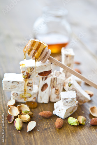 French nougat with honey