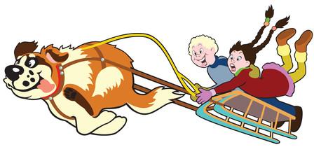 dog pulling sledge with children