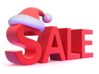 Sale sign with Santa Claus hat