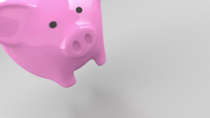 Pink Piggy Bank 3D Render