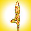 canvas print picture - yoga frau aus früchten und gemüse