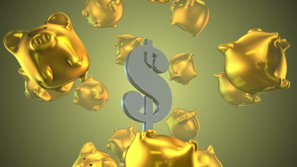 Dollar and Piggy Bank 3D Render
