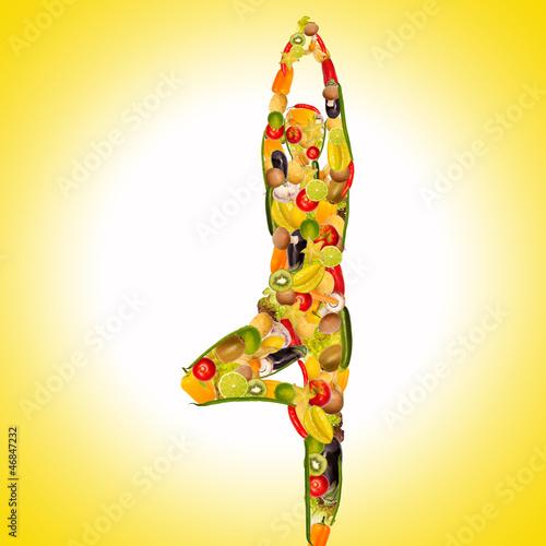 canvas print picture yoga frau aus früchten und gemüse