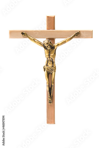 Bronze And Wooden Crucifix