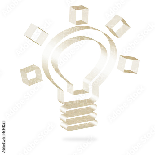 Bulb light icon of old paper
