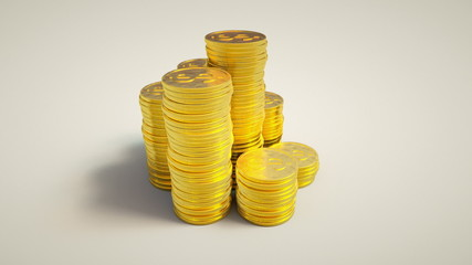 Golden coins on white background