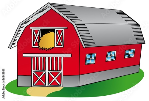Barn on white background