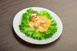 Design of food for children. eggs in the shape of mouse
