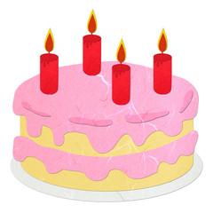 Rice paper cut pink strawberry birthday cake