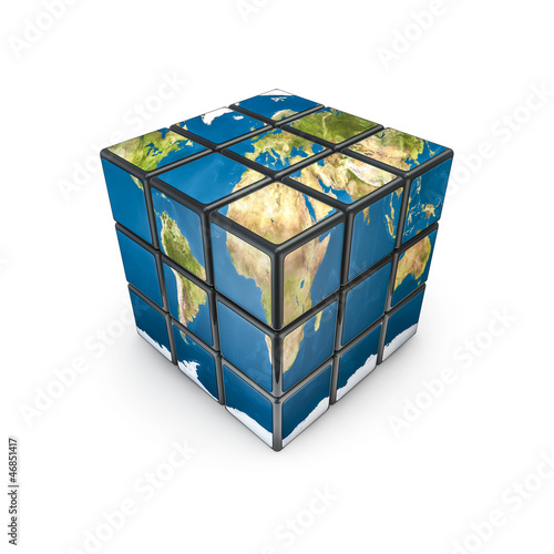 Earth puzzle cube, texture source: cinema4dtutorial.net