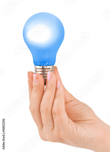 Hand with blue lamp